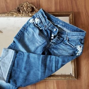 7 FOR ALL MANKIND Distressed Crop Jeans Size 26